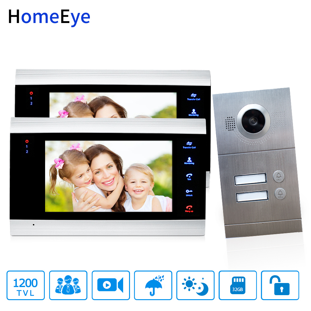 HomeEye 7'' Video Door Phone Video Intercom Multi-Apartments Home Access Control System For 2 Separate Family Door Bell OSD Menu