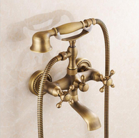 Hot sale Antique bath faucet shower bronze shower faucet bathroom telephone bathtub faucet with hand shower bathroom shower tap