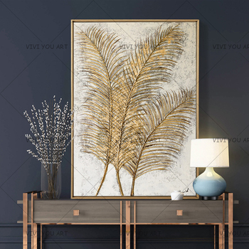 100% Handpainted Reed Design Abstract Handmade Oil Painting on Canvas Wall Art Picture for Living Room Unframed