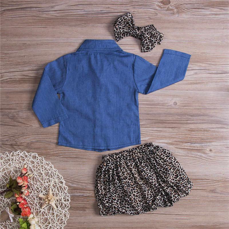 7f0b200c ... PUDCOCO 3PCS Toddler Kids Baby Girl long Sleeve Denim Shirt+Skirt Dress+Headband  Outfits ...