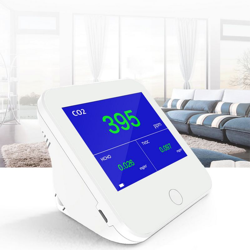 Cute Portable CO2 Meter Gas Analyzer Real Time Monitoring Air Quality Monitor Indoor/Outdoor HCHO/TVOC Tester CO2 Meter Monitor