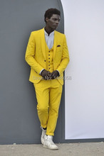 Wedding Suit For Men 2016 Brand Clothing Custom Made Yellow Best Man Tuxedo Groom Wedding Dress Men Suits (Jacket+Pants+Vest)