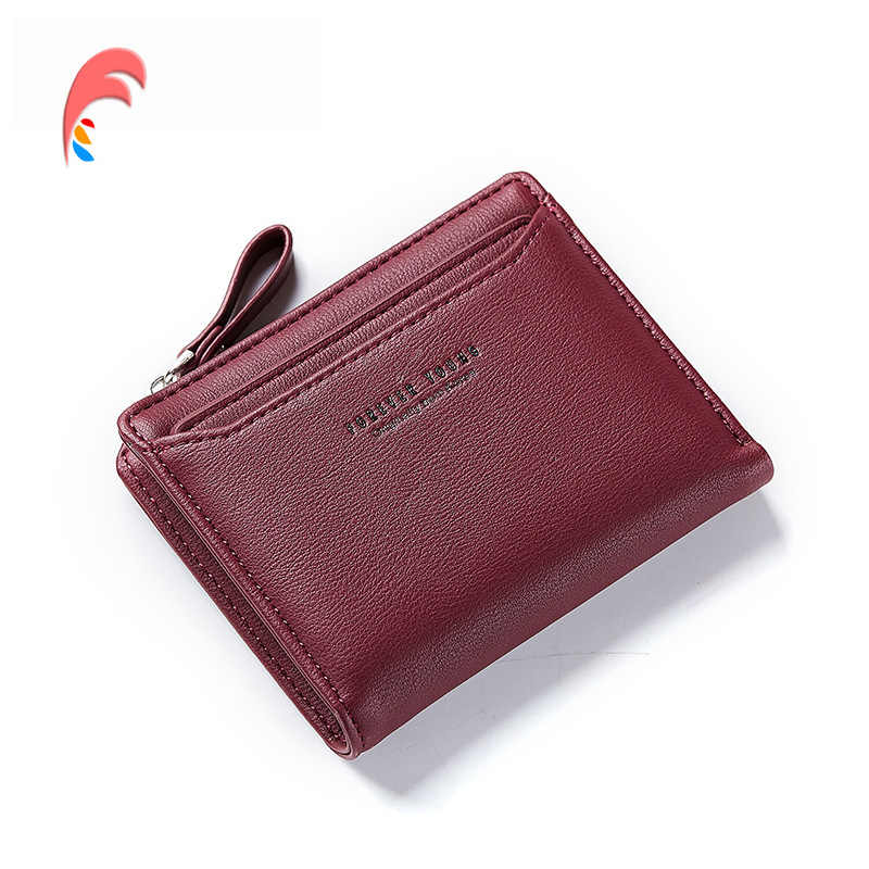 ef5177076a Wallet Women Red Leather Women Short Wallet Female Fashion Lady Small Solid  Color WEICHEN Mini Purse