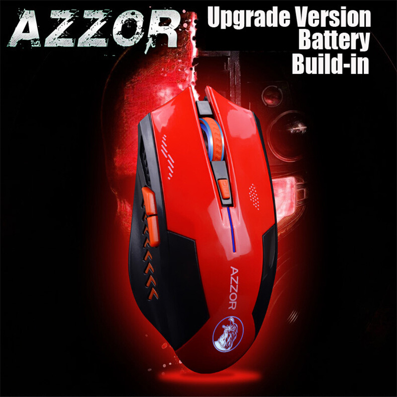 AZZOR Rechargeable Wireless Mouse Mute Butto Gaming Mice 2400 DPI 2.4G FPS Gamer Lithium Battery Build-in For PC Laptop Computer azzor n5 wireless rechargeable silent mute mouse chargable slim save electricity gamer mice for notebook desktop laptop