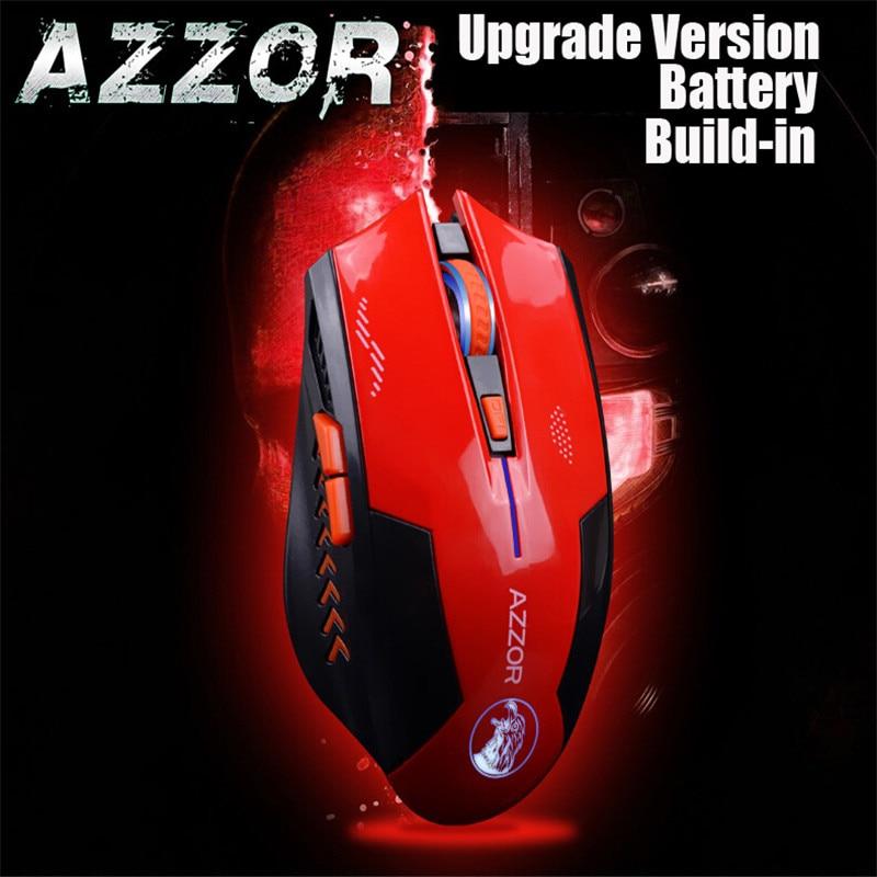 AZZOR Ricaricabile Mouse Wireless Mute Butto Gaming Mouse 2400 DPI 2.4G FPS Gamer Batteria Al Litio Build-in Per Computer Portatile Del PC