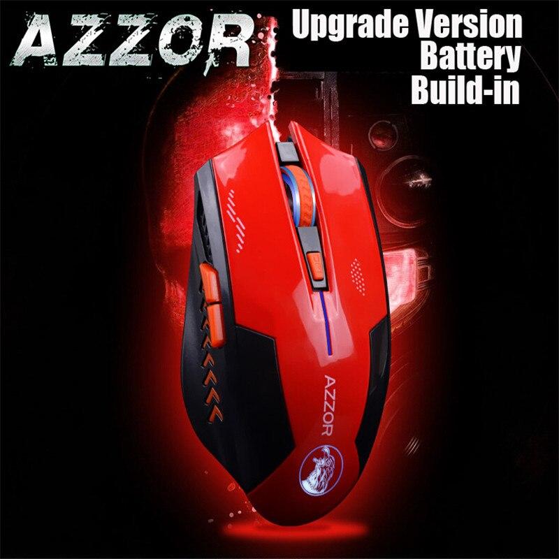 AZZOR recargable ratón inalámbrico mudo Butto de ratones 2400 DPI 2,4g FPS jugador de la batería de litio de construir para PC y ordenador portátil