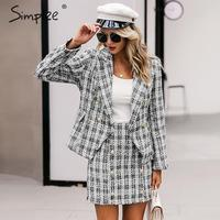 Simplee Tweed plaid two pieces women skirt suit Casual streetwear suits female blazer sets Chic office ladies women blazer suit