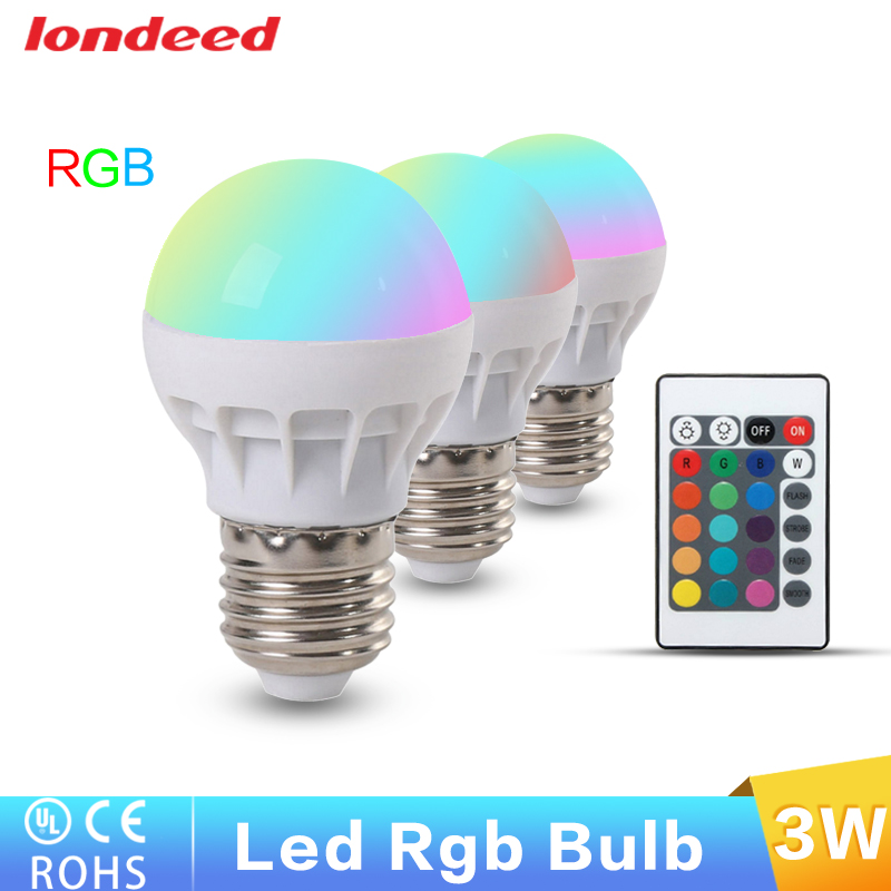 5pcs/lot E27 RGB LED Light Bulb Lamp AC110V 220V 3W LED Light Color  Changing With Remote Energy Saving Control FreeShipping In LED Bulbs U0026  Tubes From Lights ...
