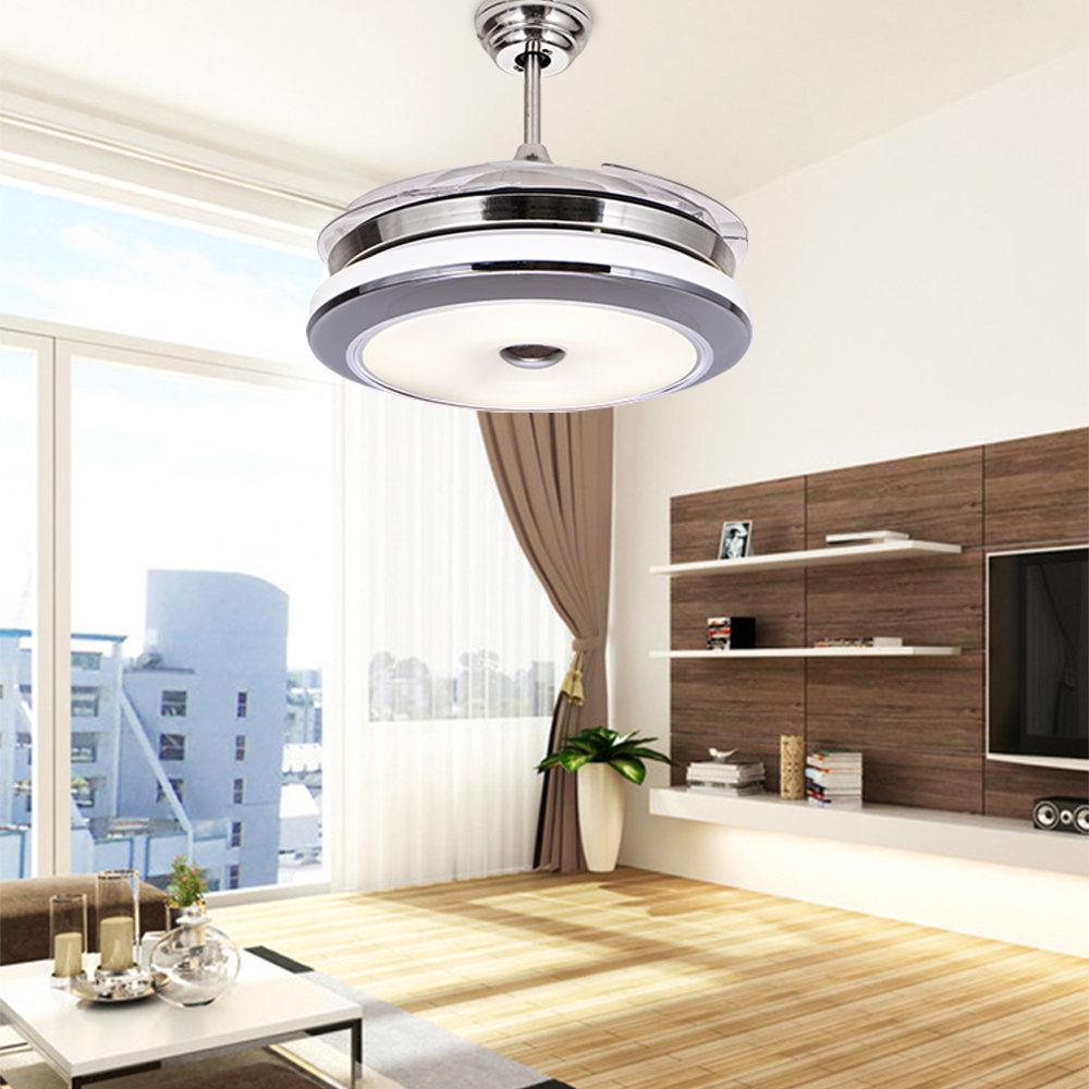 Led hidden blade quiet stainless steel acrylic ceiling fan led lamp led hidden blade quiet stainless steel acrylic ceiling fan led lampled lightceiling lightsled ceiling lightceiling lamp in ceiling fans from lights aloadofball Images