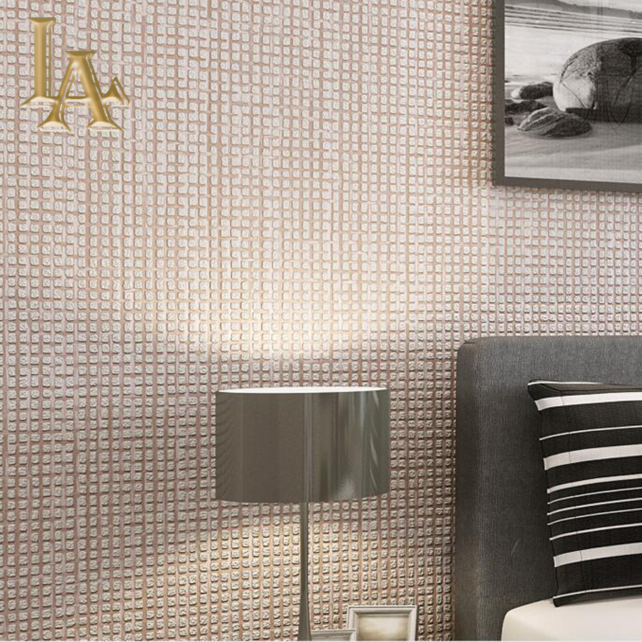 Modern Simple Solid Color Flocking Embossed Squared Plaid Wallpaper For Walls Living room Bedroom Brown Grey Wall paper Rolls simple embossed coin alloy tassel solid color anklet for women