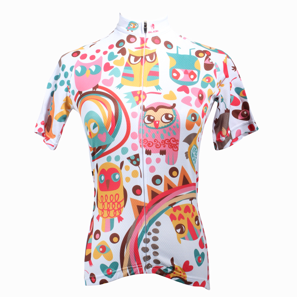 CYCLING JERSEYS Women Personality Owls top Sleeve Cycling Jersey The Colorful Bike Shirts Breathable Cycling Clothes Size XS-6XL 2016 new men s cycling jerseys top sleeve blue and white waves bicycle shirt white bike top breathable cycling top ilpaladin