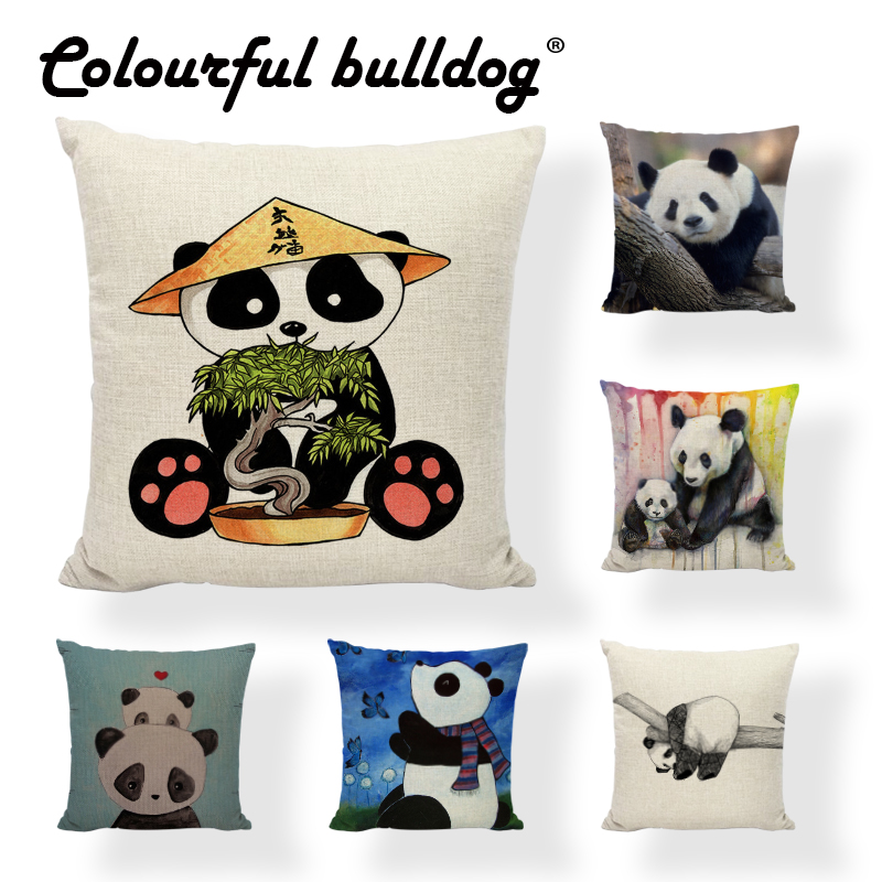 Lovely Panda Cushion Cover Chinese National Treasure Linen Cotton Home Sofa Car Decor Happy Camper Butterfly Throw Pillow Covers