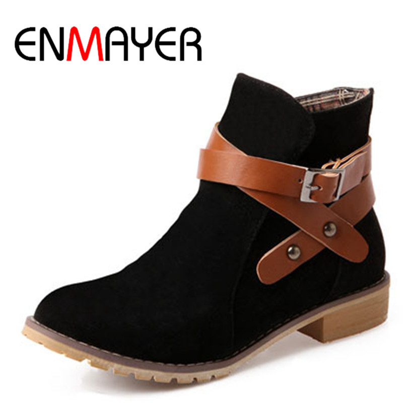 ФОТО ENMAYER New Autumn Buckle  Women Ankle Boots Black Yellow Apricot Color Square Heel Flats Suede Shoes Boots Round