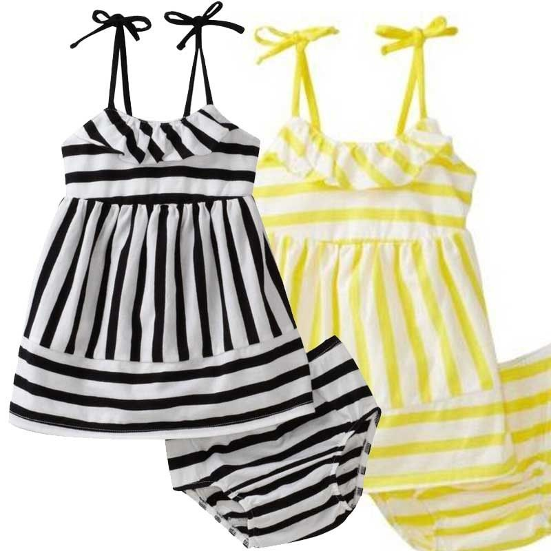 2Pcs Baby Kids Girls Suspender Dress Tops+zebra Strip Pants Outfits Set Clothing Little girl in summer clothes
