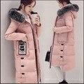 Женщины Зимняя Куртка 2017 Новый Толстый Теплый Хлопок Пальто Мода Большой меховой Воротник Длинный Тонкий Слой Большой размер Случайные Хлопка Куртка AB399