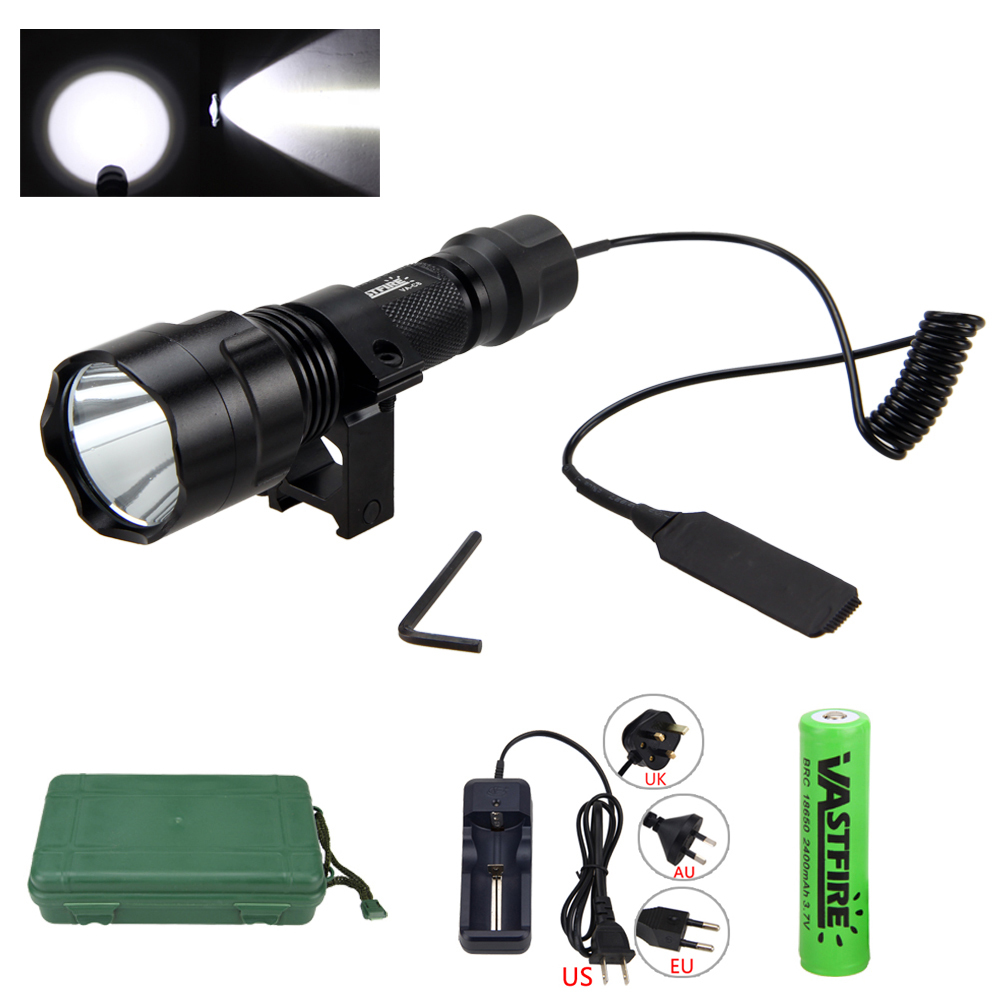 Waterproof Tactical Torch 5000 Lumen XML T6 LED Hunting Light+25 MM  Mount +Remote Pressure Switch+Battery+Charger