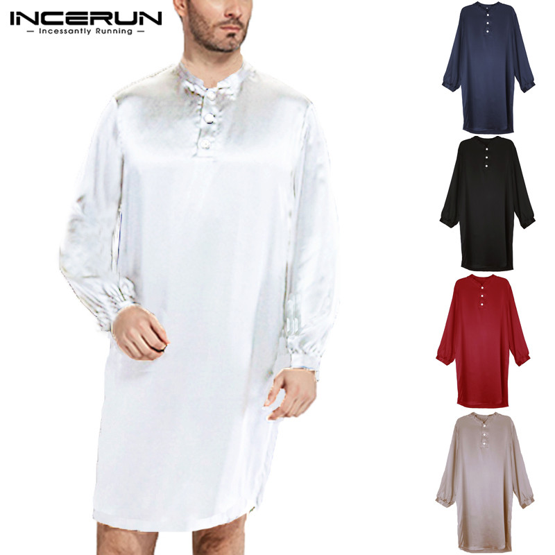 INCERUN 2019 Men Silk Satin Robe Pajamas Soft Long Sleeve Bathrobe Men Sleepwear Homewear Comfy Solid Casual Men  Suit 5XL