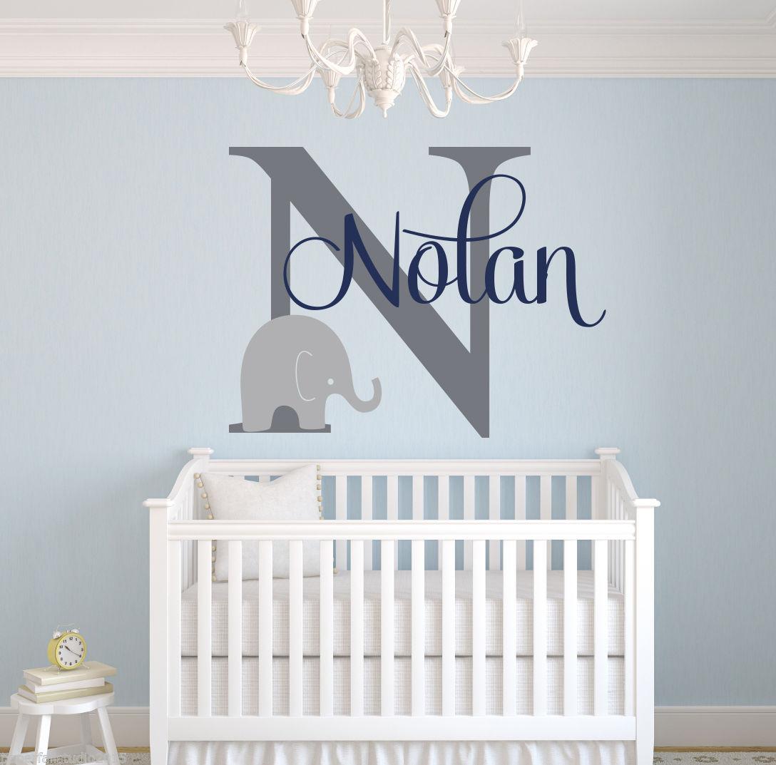 US $16.99 15% OFF|G277 Kundenspezifische Elefant Name Wandtattoo Jungen  Kinderzimmer Wand Decals Elephant Wandkunst Dekorative kunst von säuglings  ...