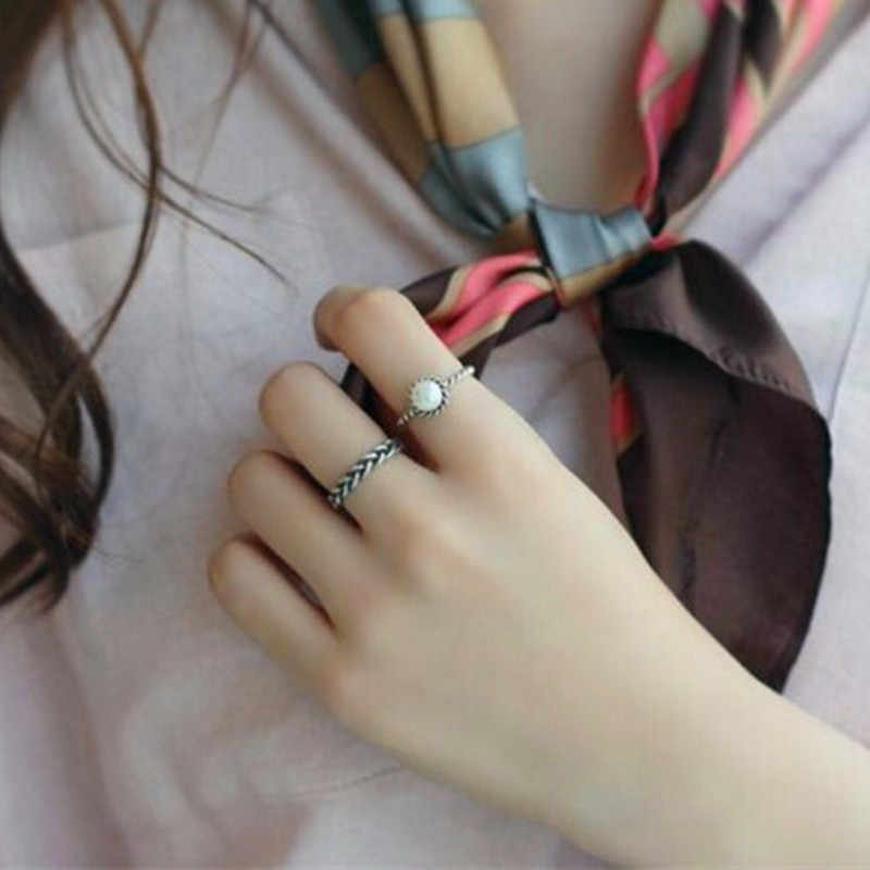 Vintage Antique Silver Ring Immitation Pearl Twisted Ring Simple Woven Opening Rings Sets For Girl 2PCS/set