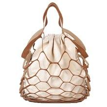 DCOS-Fashion Women Hollow Handed Net bath Bucket Bag Casual Tote Big Shoulder Bags Dropship