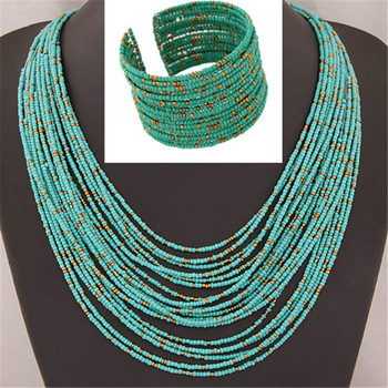 DIEZI African Acrylic Beads Jewelry Sets Bohemia Necklaces Bangles Women Fashion Statement Multilayer Necklace New Jewelry Set 1