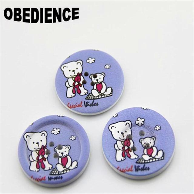 Obediencia 100 unids decoración botones redondos de madera lindo del ...