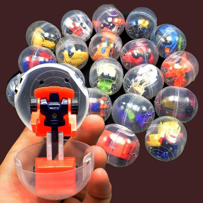 10pcs/lot Mini Transformation Robot Car Model In Egg Deformation Cars Transform Action Collection Toys Gift #E