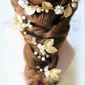 2 Pieces Elegant Bridal Wedding Crystal Pearl Golden Leaf Hair Pins Handmade Bridesmaid Bridal Veil Jewelry Hair Accessories