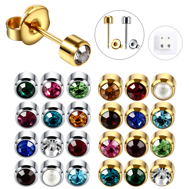 1pair Steel Earring Studs Ear Piercing For Gun Birthstone Gem Stud Earrings Silver Gold