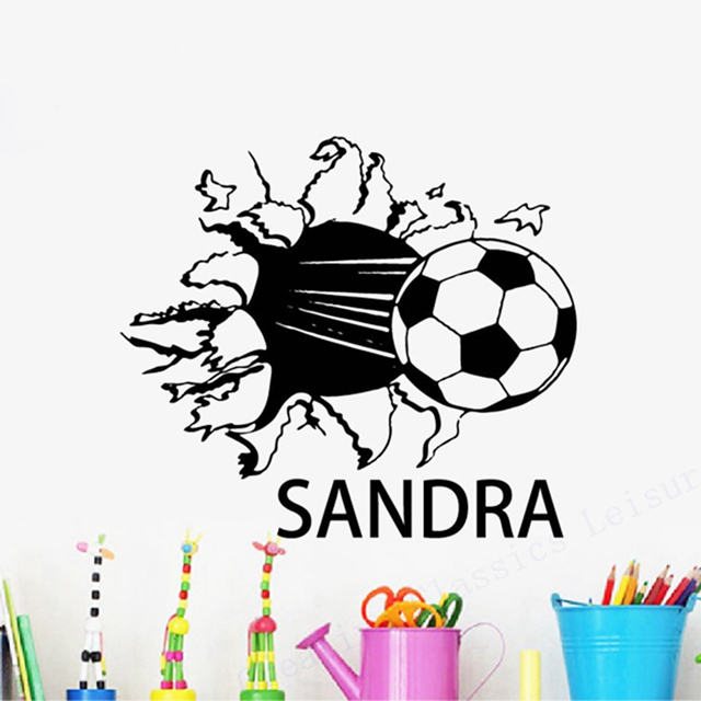Free shipping custom soccer ball name sticker personalized name with football boys room vinyl wall