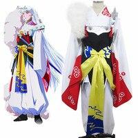 Ainclu Free Shipping InuYasha Costume Sesshomaru Kimono Cosplay For Kid And Adult Costume