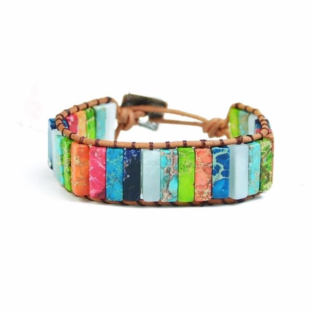 YGLINE Multicolor Boho Natural Stone Chakra Bracelet