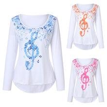 447f77974f8 (Ship from US) vetement femme 2018 Women Long Sleeve Round Neck Irregular Top  Musical Notes Print Blouse female Shirt Tops camiseta feminina