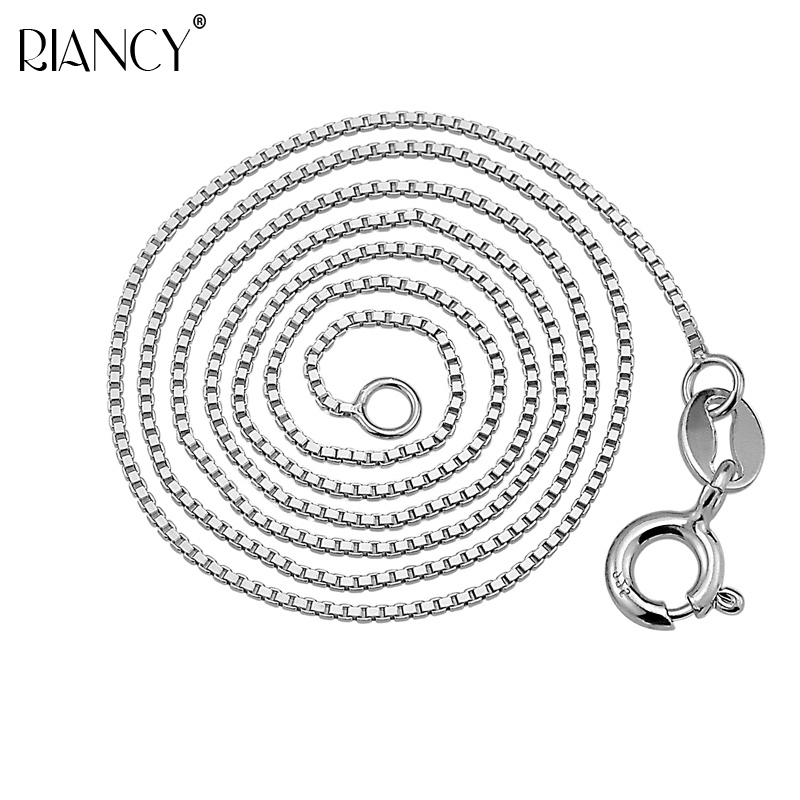 Pure Silver Necklace For Women Classic S925 Sterling Box Chain Fashion Color