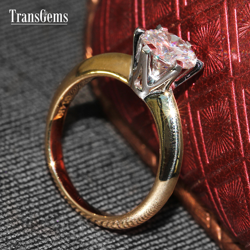 Transgems Classic 14k White Gold 1 Carat Diameter 6 5mm F Color moissanite Engagement Ring For Women Solitare Engagement Ring in Rings from Jewelry Accessories
