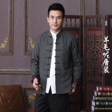 Alta calidad nueva Otoño Invierno chino tradicional hombres lana mandarín  Chaquetas Abrigos m L XL XXL XXXL 205a4a70daa