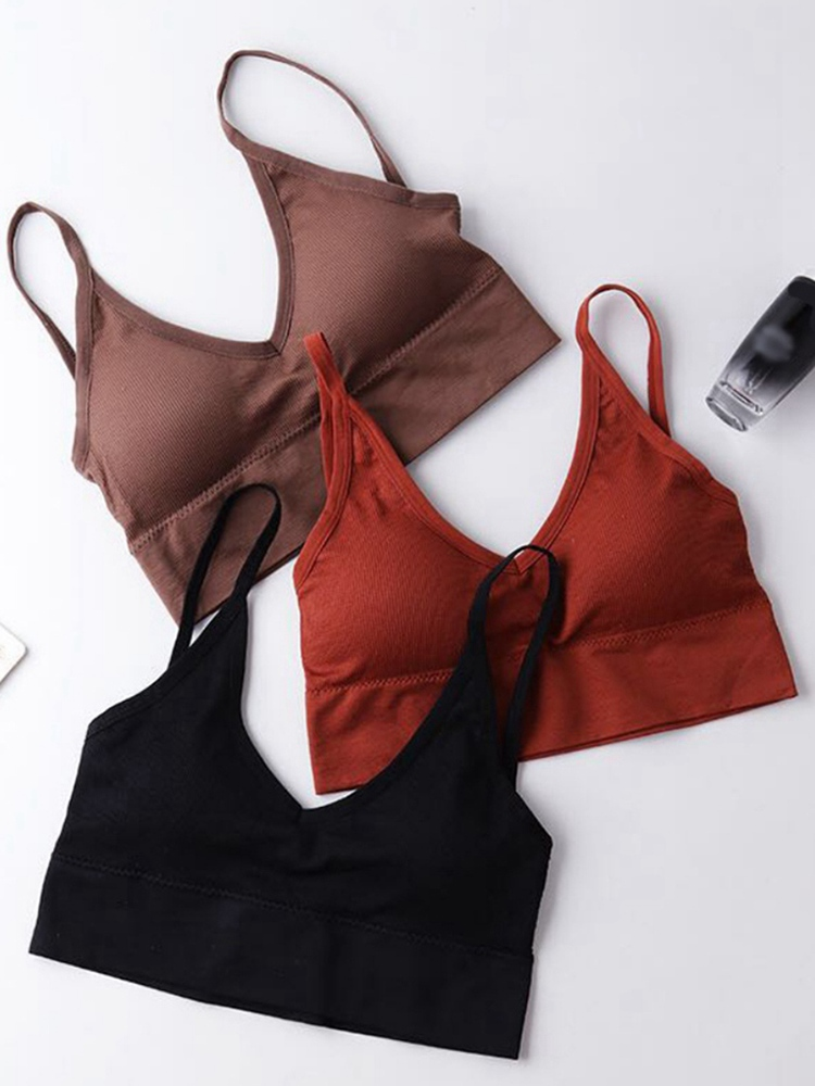 Japanese Style Triangle Cup Underwear For Women Backless Wireless Elastic Comfy Padded BH Bras Fashion Solid Bralette бюстгалтер