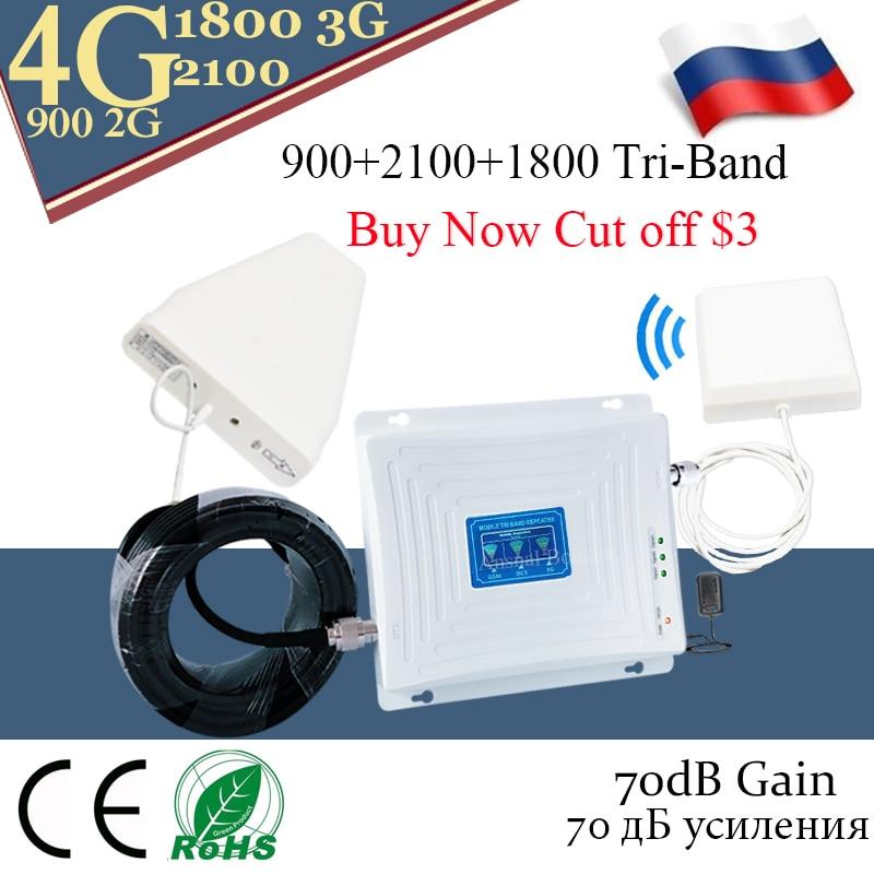 4G Repetidor GSM 900 DCS LTE 1800 Telefone WCDMA 2100 Tri-Band de Reforço de Sinal Móvel 2G 3G 4G Celular Repetidor celular
