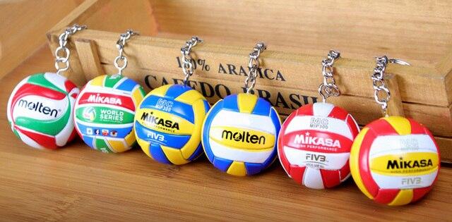 Nuevo deporte playa voleibol PVC llavero llaveros cadena anillo Fútbol Playa bola llavero regalos hombres joyería llavero llaveros