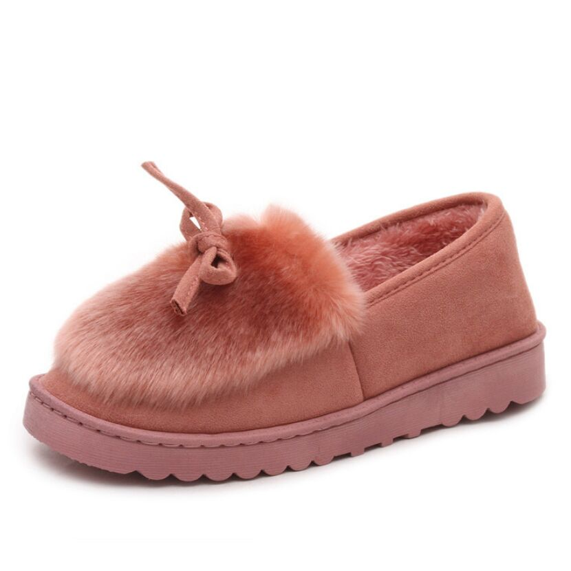 Xiaying Smile Women Winter Flats Warm Shoes With Feather Down Antiskid Shoes For Women New Style Fashion Bow Shoes Rubber Bottom