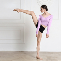 Sexy Ballet Dance Tops For Women Knitting Keep Warm Slim Gymnastic Clothing V Collar Long Sleeves Practice Dancing Wear