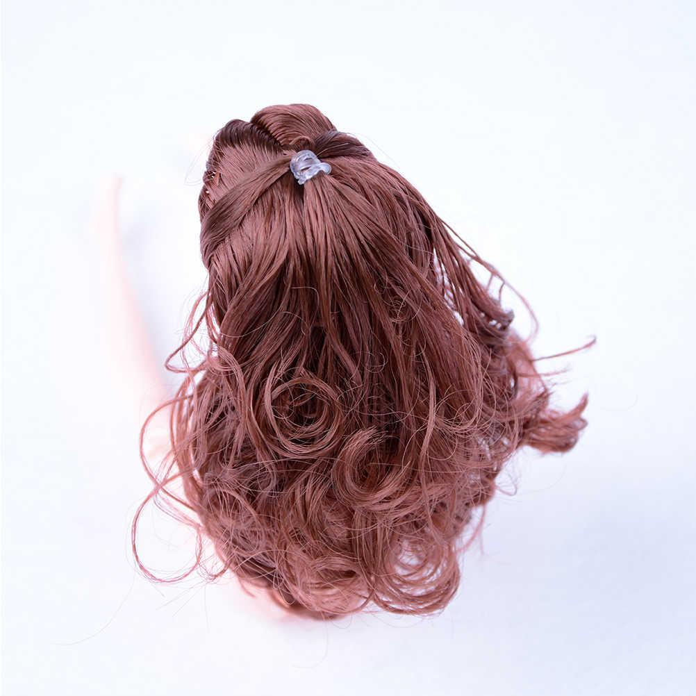 Nieuwe Aankomst DIY Accessoires Voor Meisje Pop Voor 1/6 BJD Poppenhuis Hoge Kwaliteit 2018 Kids Speelgoed Pop Hoofd met zwart Bruin Haar