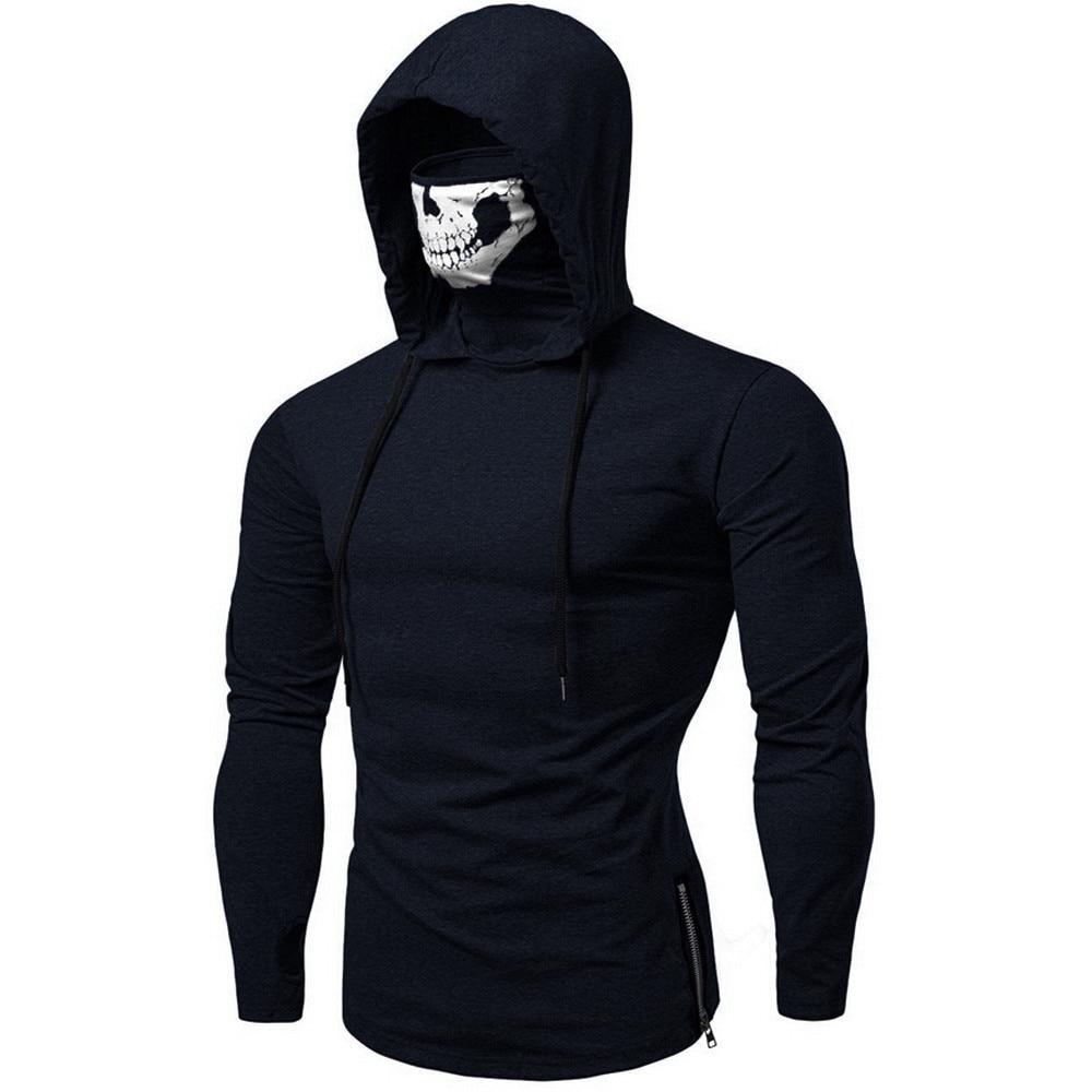 Plus Size Clothes Hoodies Sweatshirt Men's Moletom Mask Skull Pure Color Pullover Tops Loose Hooded Sweatshirt Tops /PT