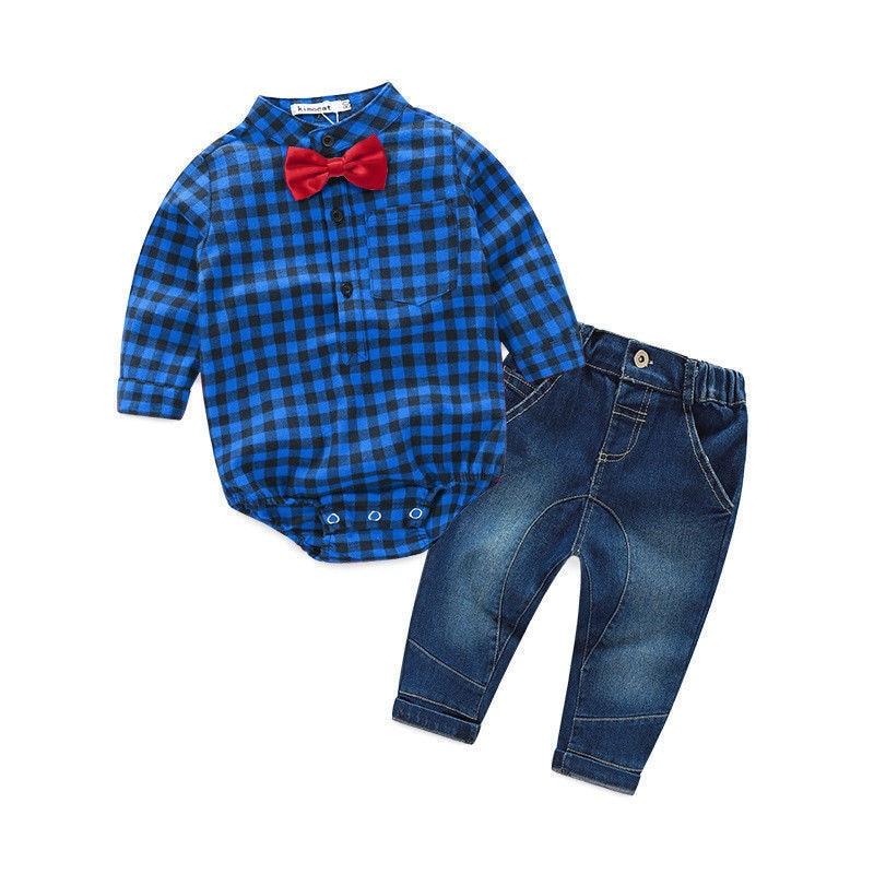 2pcs Kids Baby Boys Rompers Jumpsuit Long Sleeve Plaid Tops+Jeans Pants Outfits Clothes Set