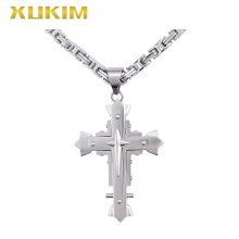 RP115-S Xukim Jewelry Silver Pendant Stainless steel Cross Pendant Byzantine Chain Religion Pendant Necklace rp115 s xukim jewelry silver pendant stainless steel cross pendant byzantine chain religion pendant necklace