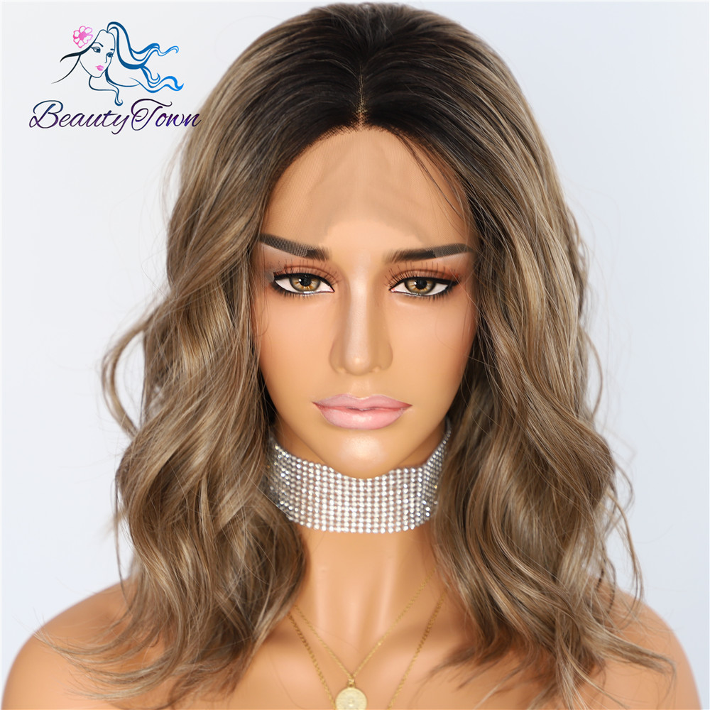 BeautyTown Black Ombre Brown Short Heat Resistant Hair Cosplay Blogger Daily Makeup Synthetic Lace Front Wedding