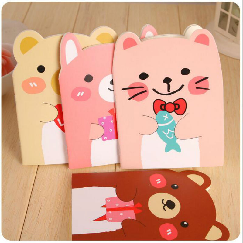 Cat Bear Creative Paper Notebook Inner Page With Line Journal Notepad For Kids Gift Diary Planner A6 Korean Stationery DD62 140 page note paper creative fruit design