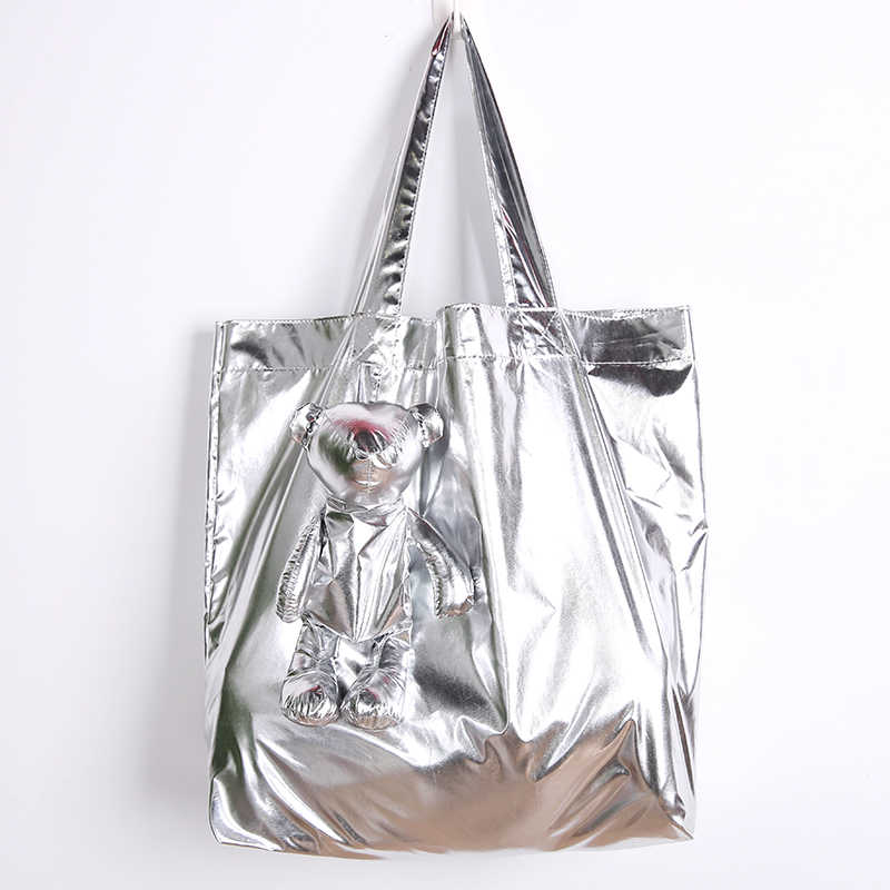 ECO Silver Coated Bear Cotton filling Waterproof Tote High-Quality Reusable grocery High capacity Cotton bag Shopping Bag