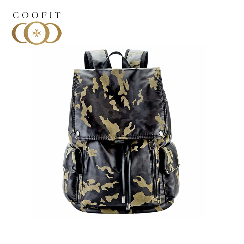 coofit Fashion Boys Rucksack Casual Camouflage Printed Large Capacity Backbag Nylon Backpack Waterproof Travel Backpack For Men