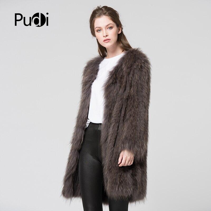CT7011 de punto de piel de mapache Real abrigo chaqueta de abrigo de invierno de mujer abrigo de piel genuina abrigo gris oscuro 80 cm longitud-in piel real from Ropa de mujer    2